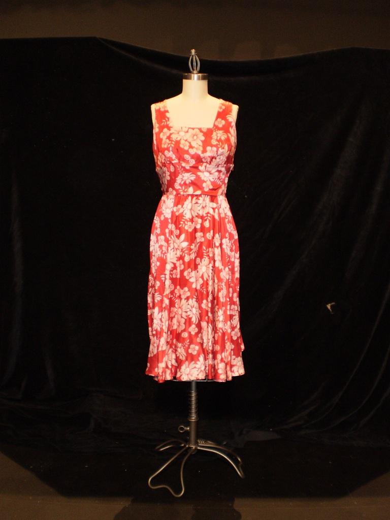 Irma's red dress on a dressform