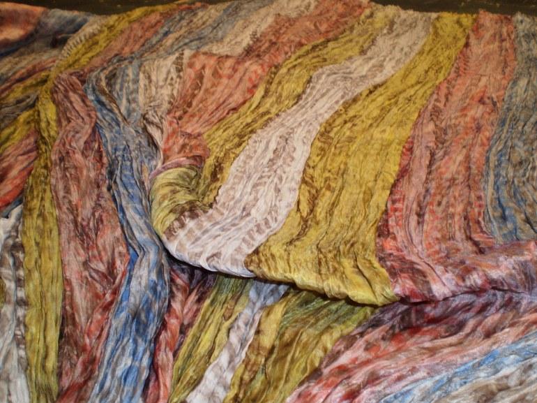 shibori dyed strips