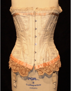 Esther's wedding corset on a dressform