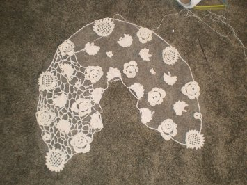 Irish crochet shawl in process