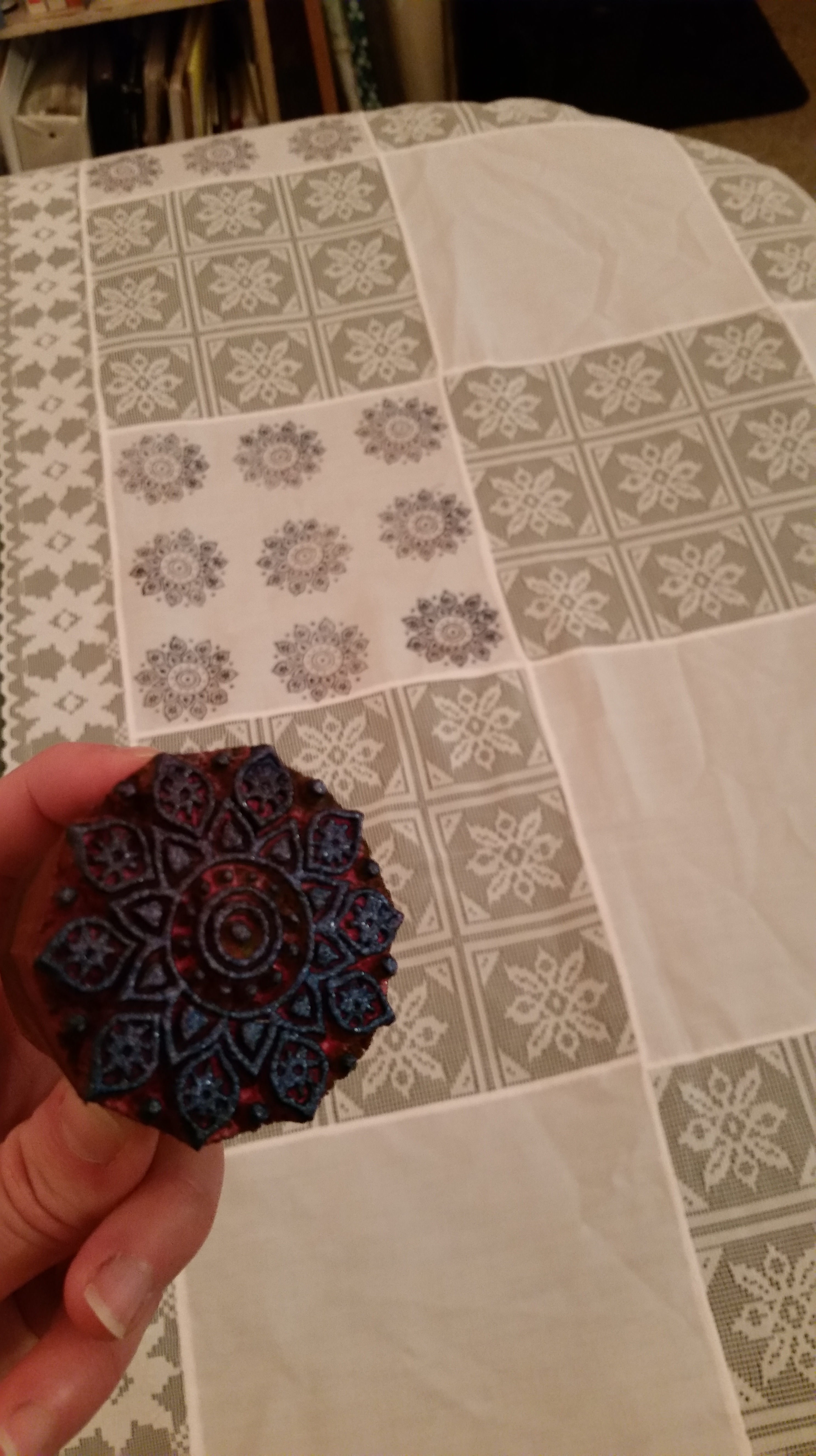 abstract flower stamp on tablecloth