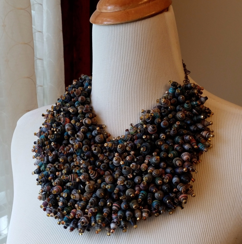 Paper Bead Statement Necklace