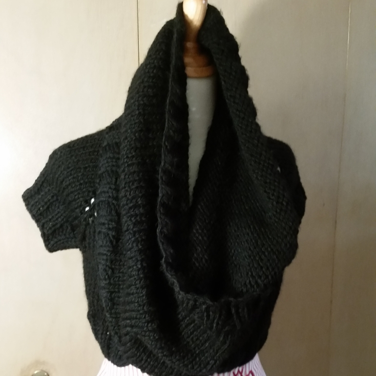 black knit cowl shrug